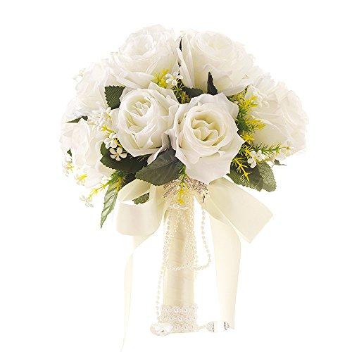 Yansion Brautstrauß Hochzeit Bouquets koreanischen Stil weiß künstliche gefälschte Rose Blume Hochzeit mit Blumen mit Strass.