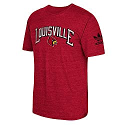 NCAA Louisville Cardinals Men's Deadstock Arch Tri-Blend Short Sleeve Tee, Small, Red Heathered