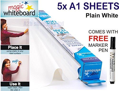 magic-whiteboard-5-x-a1-blatt-vinyl-aufkleber-radierbar-gratis-marker-pen
