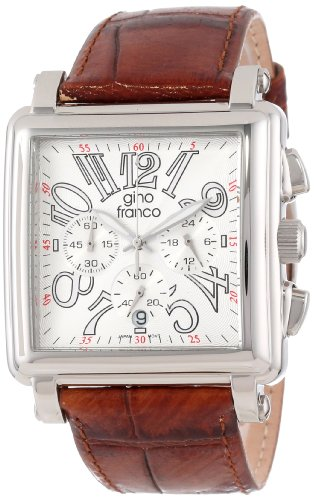 gino franco Men's 942BR Square Chronograph Stainless Steel Genuine Leather Strap Watch