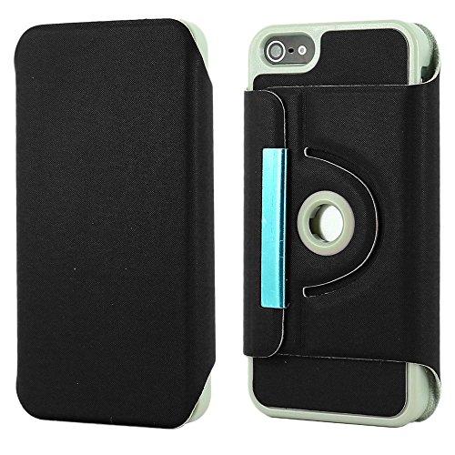 ebestStar - pour Apple iPhone SE 5S 5 - Housse Coque Etui PU cuir Support rotatif 360° + Stylet tactile, Couleur Rouge [Dimensions PRECISES de votre appareil : 123.8 x 58.6 x 7.6 mm, écran 4''] Noir