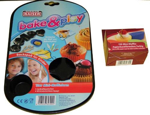 Muffin Backförmchen Set (150 Papierbackförmchen + 12er Mini-Muffinform