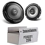 Peugeot 206 - Lautsprecher Boxen Kenwood KFC-E1765-16cm 2-Wege Koaxialsystem Auto Einbausatz - Einbauset