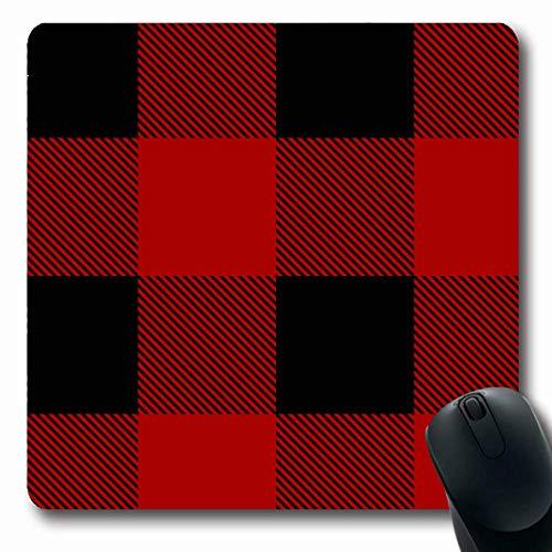 Luancrop Mousepads Klassische rote Büffel-Holzfäller-Plaid-Muster-Lumbersexual Karo-Flanell-beiläufige Tartan-Wolle-Ausstattung rutschfeste Spiel-Mausunterlage Gummi-längliche Matte -