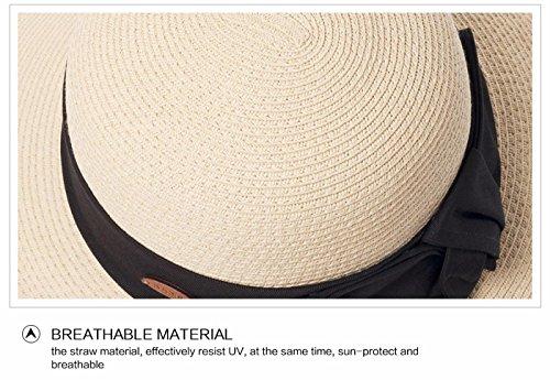 Mesdames chapeau de paille l'été avec Bowknot chapeau à large bord pour une Protection solaire pliable femmes Holiday Beach Flower