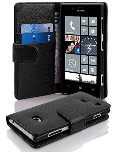 Preisvergleich Produktbild Cadorabo Hülle für Nokia Lumia 720 - Hülle in OXID SCHWARZ – Handyhülle mit Kartenfach aus struktriertem Kunstleder - Case Cover Schutzhülle Etui Tasche Book Klapp Style