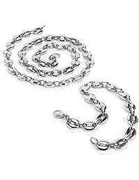 AURSTORE® Parure Bracelet ET Chaine Homme Acier INOX Massif Grain DE CAFÉ  Taille Couleurs AU 846314f2f762