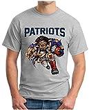 OM3® - New England Patriots - T-Shirt | Herren | American Football Shirt | Super Bowl 53 LIII | NFL | 4XL, Grau Meliert