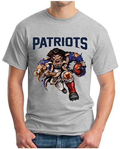 OM3® - New England 00 - T-Shirt | Herren | American Football Shirt | 4XL, Grau Meliert - Rob Tshirt Gronkowski