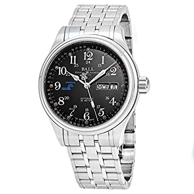 Ball Men's NM1058D-S10J-BK 'Train Cleveland' Black Dial Stainless Steel GMT Day Date Swiss Automatic Watch