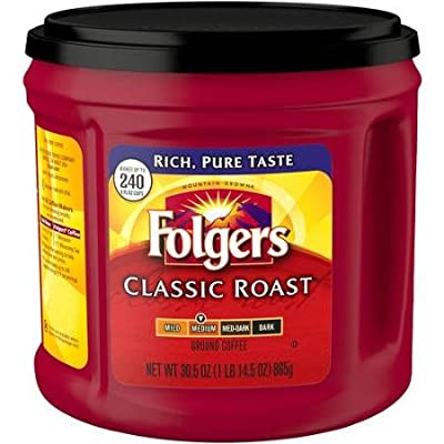 Folgers Classic Roast Medium Roast Ground Coffee 865g Tub Makes Up To 240 Cups by FOLGERS