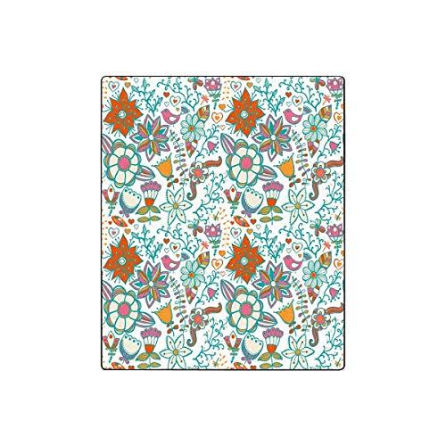 Mesllings Fleecedecke, Vintage-Blumenmuster, leicht, gemütlich, Plüsch, 127 x 152,4 cm (B x L) Vintage-olive Wood
