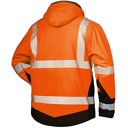 2-in-1 Ganzjahres-Warnschutz-Softshelljacke EN 471 Klasse 3 warnorange schwarz fluoreszentes Orange / Schwarz
