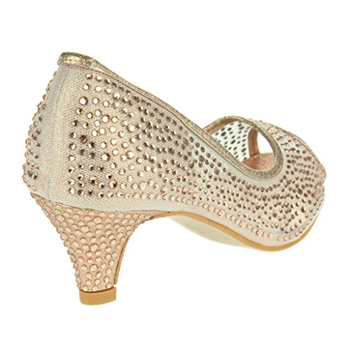 Femmes Dames Engrener Diamante Peep Toe Soir Mariage De mariée FêteProm Talons Moyens Pompes Sandales Chaussure Taille Champagne