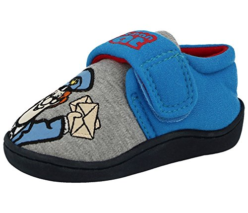 Postman Pat Applique Boys Slippers - Blue/Grey (Sizes 5,6,7,8,9,10)