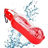 Coquimbo 500ml Bouteille d'Eau pour Chien Distributeur d'Eau Portable avec Clip en métal Gourde avec Abreuvoir pour Chien Chat(Rouge) (Rouge)