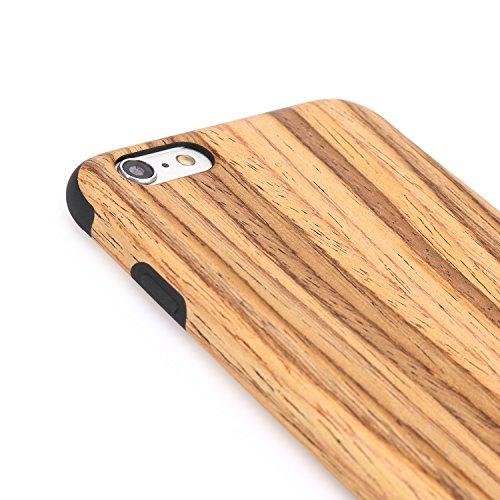 TENDLIN iPhone 6s Hülle Holz und Flexiblem TPU Silikon Hybrid Weiche Schutzhülle für iPhone 6 6s (Rotes Sandelholz) Teakholz