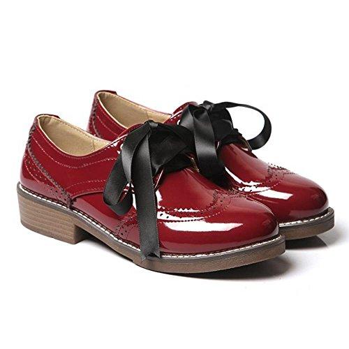 COOLCEPT Femmes Decontractee Richelieu Chaussures Classique Oxford Escarpins Dentelle WineRouge