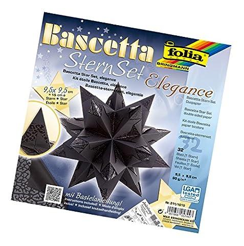 Folia 211/1010 - Bastelset Bascetta Stern, Elegance, 9,5 x 9,5 cm, 32 Blatt, Wildlife schwarz