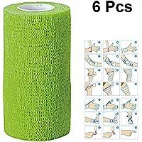 ULTNICE 6 Roll Zusammenhaltes Wickelbandband Selbstklebende Bandage Tape für Athletic Sport 7.5x450cm (Grün) preisvergleich bei billige-tabletten.eu