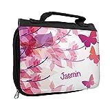Kulturbeutel mit Namen Jasmin und Motiv mit Schmetterlingen für Mädchen | Kulturtasche mit Vornamen | Waschtasche für Kinder