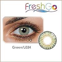 Lentes de contacto blandas anuales, color verde, sin graduación, con estuche para guardarlas, cómodas, perfectas para ojos claros y oscuros