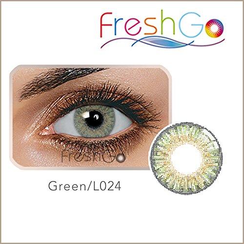 Farbige Jahres Kontaktlinsen, GRÜN, weich, ohne Stärke als 2er Pack (2 Stück)- mit Aufbewahrungsbox, angenehm zu tragen, perfekt für helle und dunkle Augen, Party, grün