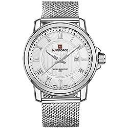Gute alle Silber Herren Japan Quarz Armbanduhr Weiß Zifferblatt Casual Edelstahl Gurt