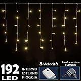 Bakaji Lighting Tenda Luminosa Natalizia 192 LED Luce Bianco Caldo 3 METRI lineari EFFETTO PIOGGIA, per uso Interno ed Esterno Luci Cavo 5 metri, con Controller per 8 Giochi di luce, luci Natalizie per Albero di Natale, Decorazioni Illuminazione Natale