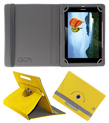 Acm Rotating 360° Leather Flip Case for Iball Slide 7236 2gi Cover Stand Yellow  available at amazon for Rs.149