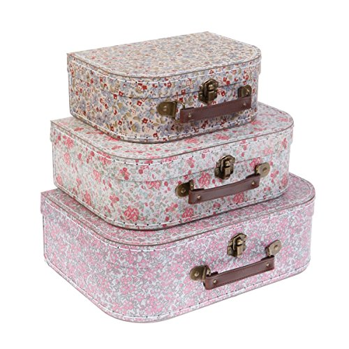 RSQO - Set 3 valigette floreali in stile vintage
