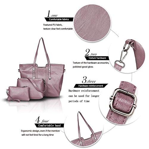 Sunas Borsa trasversale della borsa della borsa della borsa delle donne di modo 3pcs borsa del messaggero + sacchetto di spalla + raccoglitore viola