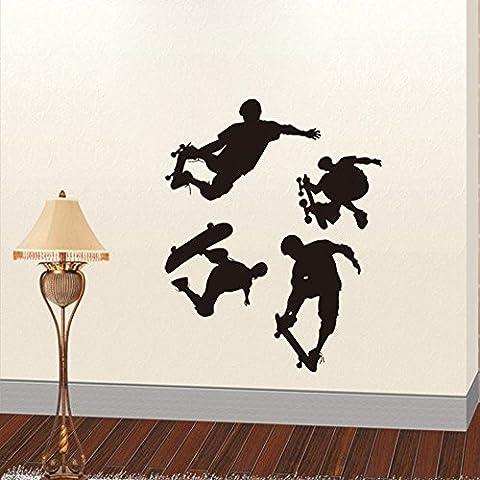 Winhappyhome monopatín Deportes engomadas de la pared para la habitación de los niños de estar Estadio fondo del sitio de la decoración Sticker Adhesivos murales