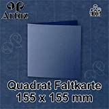 25x original ARTOZ quadratische Faltkarten - hochdoppelt - 220 g/m² // SERIE 1001 // classic blue - gerippt! // 155 x 155 mm +alle Farben