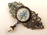 Pince de cheveux avec des fleurs et de la vraie perle, bronze bleu