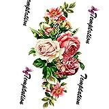 Dpolrs Dpolrs Rose Blumen Arm-Schulter-Tätowierung Schönheit bilden gefälschte temporäre wasserdichte Körperbein Aufkleber