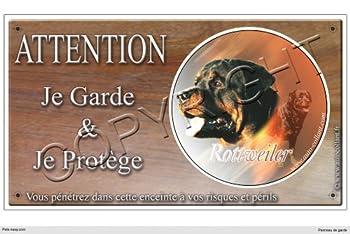 Panneau chien ou plaque Rottweiler-01 20 cm