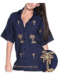 La Leela rayonne léger dames manches courtes 4 en 1 thème aloha partie millésime brodé salon beachwear vacances boho blouse hawaïennes shirt femme top bleu marine