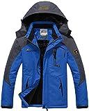 Sawadikaa Hombre Chaqueta de Esquí Chubasqueros Al Aire Libre Impermeable Chaqueta de Nieve Lana Capa Excursionismo Ropa de Deporte Azul Large