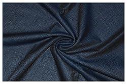 V Walkers Mens Poly Blend Solid Unstitched Trouser Fabric (1.30 Mtr_Blue_VST156)