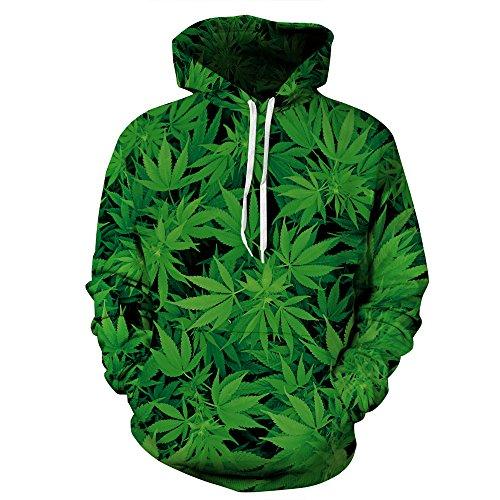 k Hoodie Kapuzenpullover Langarm Sweatshirt Weihnachten Halloween Hoodie Kapuzenjacke Mit Taschen QYDM043 Cannabis Blatt S/M ()