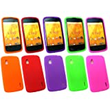 Emartbuy ® Lg Google Nexus 4 E960 Bundle Pack Von 5 Silicon Skin Cover / Case Lila, Grün, Rot, Orange & Pink