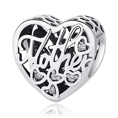 HSUMING Ich Liebe Dich Meine Mutter Charm Perlen 925 Sterling Silber DIY Schmuck passt Charme Pandora Armband für Mädchen