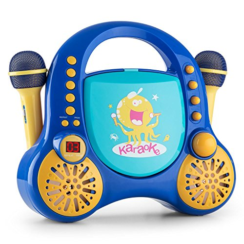 auna Rockpocket equipo de karaoke infantil (dos micrófonos, lector CD, bordes y esquinas redondeados, pegatinas para decorar) - azul