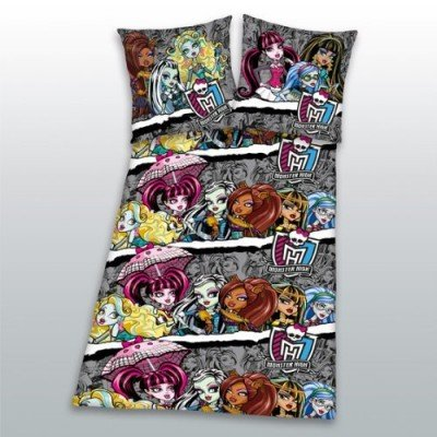 Herding 443463050412 Bettwäsche Monster High, Kopfkissenbezug: 80 80 cm, Bettbezug: 135 200 cm, Linon