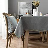 fdsa Europe Luxury Christmas Tablecloth Waterproof Cotton Linen Embroidery Lace Decorative Grey Rectangular Tablecloth Home Textiles Style A