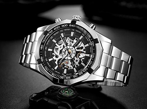 affute-Billig-Herren-Automatische-mechanische-Skelett-Ziffernblatt-Analog-Handgelenk-Uhren-Silber-Edelstahl-Armband