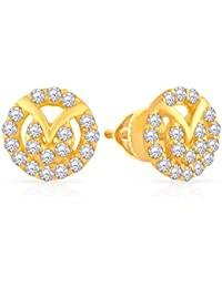 Malabar Gold and Diamonds 22k Yellow Gold and Cubic Zirconia Stud Earrings for Women