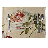 longyitrade Vintage Blume Gedruckt Tisch-Sets Leinen lilanen Pad Home Esstisch Decor 9#