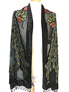 Beaded Peacock Fashion Scarf Shawl ,Soft Silk Velvet Long Scarf Centered by Two Beautiful Handmade Beading Peacocks .Elegant For Your Daily or Evening Dresses.